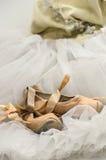 Tutu with ballet shoes Stock Photos