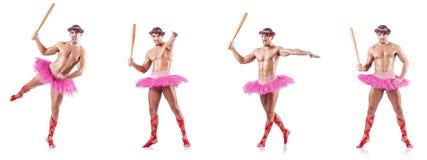 Tutu de port de ballet d'homme d'isolement sur le blanc Photos stock