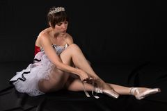 Tutu. Pretty slender brunette in a red and white tutu Stock Images