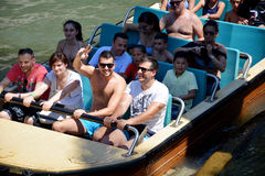 Tutuki Splash ride in Port Aventura amusement park. Royalty Free Stock Photos