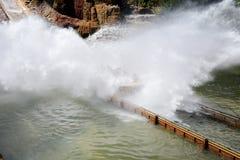Tutuki Splash ride in Port Aventura amusement park. Royalty Free Stock Image