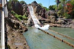 Tutuki Splash ride in Port Aventura amusement park. Stock Photos