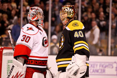 Tuukka Rask and Cam Ward Square off Stock Photo