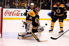 Tuukka Rask makes a save Stock Images