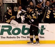 Tuukka Rask y Benoit Pouliot Boston Bruins Imagen de archivo