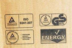 TUV het Rijnland, Duitse Stadard, Energie, ISO-tekens op een computer c Stock Foto