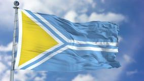 Tuva Flag in een Blauwe Hemel Stock Foto