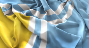 Tuva Flag Ruffled Beautifully Waving Macro Close-Up Shot. Studio Stock Images