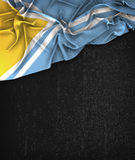 Tuva Flag Vintage på en svart tavla för Grungesvart Royaltyfria Foton