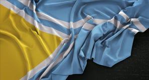 Tuva Flag Wrinkled On Dark-3D de Achtergrond geeft terug Royalty-vrije Stock Afbeelding
