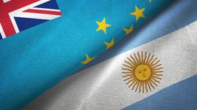 Tuvalu and Argentina two flags textile cloth, fabric texture. Tuvalu and Argentina flags together textile cloth, fabric texture stock illustration