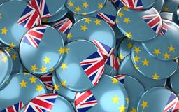 Tuvalu Badges Background - Pile of Tuvalu Flag Buttons. Royalty Free Stock Photo