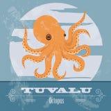 tuvalu bläckfisk Retro utformad bild Royaltyfria Foton