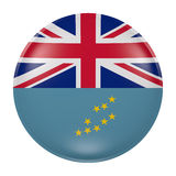 Tuvalu button on white background. 3d rendering of a Tuvalu  flag on a button Stock Photography