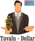 Tuvalu currency symbol dollar representing money and Flag. Vector design concept of businessman in suit with his open hand over with currency isolated on white Royalty Free Stock Photos