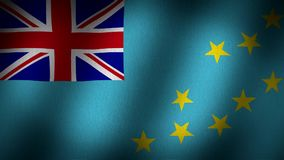 Tuvalu flag. Animated, waving flag a small british rectangular flag in the top left side and yellow small stars in the lower right side, fabric texture stock video footage