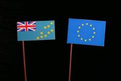 Tuvalu flag with European Union EU flag  on black Royalty Free Stock Image