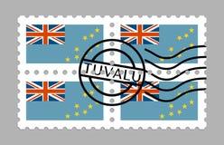 Tuvalu flag on postage stamp vector illustration