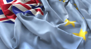 Tuvalu Flag Ruffled Beautifully Waving Macro Close-Up Shot. Studio Stock Photo