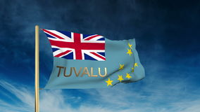 Tuvalu flag slider style with title. Waving in the. Tuvalu flag slider style with title. Waving with cloud background animation stock video