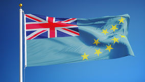 Tuvalu flag in slow motion seamlessly looped with alpha. Tuvalu flag waving in slow motion against clean blue sky, seamlessly looped, close up, isolated on alpha stock video