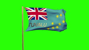 Tuvalu flag with title waving in the wind. Looping. Tuvalu flag with title waving in the wind. Loops sun rises style stock footage
