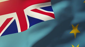 Tuvalu flag waving in the wind. Looping sun rises stock video