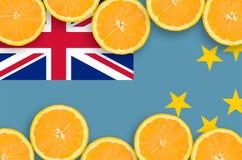 Tuvalu flagga i citrusfruktskivahorisontalram arkivfoto