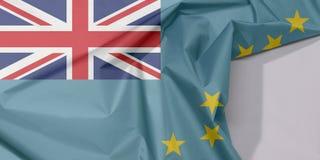 Tuvalu-Gewebeflaggenkrepp und -falte mit Leerraum lizenzfreie stockfotos