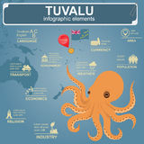 Tuvalu  infographics, statistical data, sights. Octopus. Vector illustration Royalty Free Stock Photography