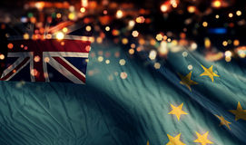 Tuvalu National Flag Light Night Bokeh Abstract Background Royalty Free Stock Photography