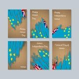 Tuvalu Patriotic Cards for National Day. Expressive Brush Stroke in National Flag Colors on kraft paper background. Tuvalu Patriotic Vector Greeting Card Stock Photo