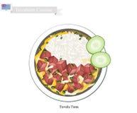 Tuvalu tonfisk eller traditionell rissallad med tonfisk stock illustrationer