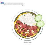 Tuvalu Tuna or Traditional Rice Salad with Tuna Stock Photo