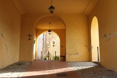 Tuvillia village in Italy. Upper town entrance. Royalty Free Stock Image