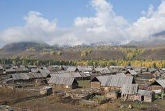 Tuwa people cabin. China Xinjiang Tuwa people are nomadic nationality. Xinjiang Hemu is the most northern part of a Tuwa village Stock Photos