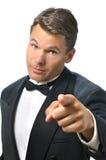 Tux mężczyzna punktów palec Obrazy Royalty Free