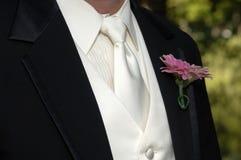 Tux negro y lazo del novio imagenes de archivo