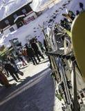 Tux, Tyrol, Schwaz Austria, Luty, - 12 2015: Ośrodek narciarski przy Hintertux lodowem Zdjęcie Stock