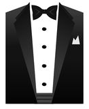 Tuxedo. An illustration of a black bow tie, white shirt and tuxedo collar Royalty Free Stock Photography