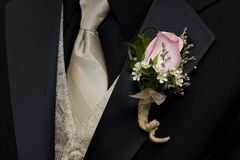 Tuxedo and Boutineer. On a young man for a wedding or prom Royalty Free Stock Photos