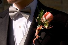 Tuxedo and Boutineer. On Young Man for Prom royalty free stock photo