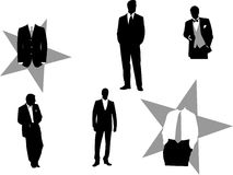Tuxedo and business silhouettes Stock Photos