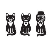 Tuxedo cats set. Cute cartoon drawing of black and white tuxedo cat with mustache and hat. Funny cat gentleman Royalty Free Stock Images