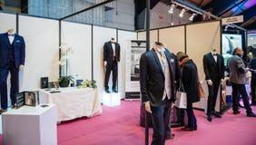 Tuxedo and groom suits at Salon du Marriage wedding fair France Stock Photo