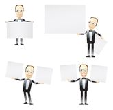 Tuxedo men with blank signs Royalty Free Stock Photo