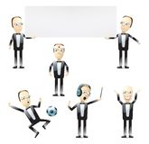 Tuxedo men in various poses. Illustrated cartoon men wearing tuxedos holding a blank sign, playing soccer, being a doctor and a conductor Royalty Free Stock Photos