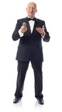 Tuxedo offering mic Stock Image