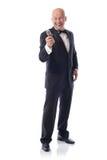 Tuxedo offering mic Stock Photo