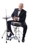 Tuxedo playing drums Royalty Free Stock Images